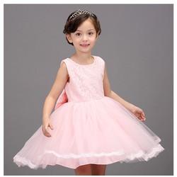 Đầm xèo bé gái cao cấp kèm cài hoa 2- 10 tuổi