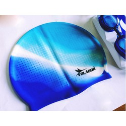 Mũ bơi silicone thường màu xanh trắng