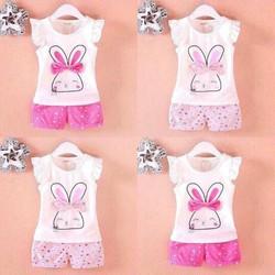 Quần áo trẻ em mẫu thỏ hè