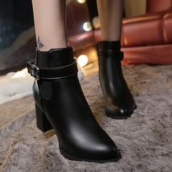 Giày Bốt Nữ Gót Vuông 7cm Mã T48