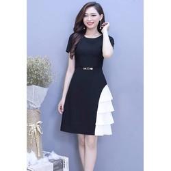 Đầm Xòe Tay Con Phối Trắng - Đen ko kèm belt #99332