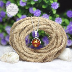 Dây Chuyền Nữ Đính Đá Mã Não Đỏ Khắc Kinh Phật Thương Hiệu BT Jewelry