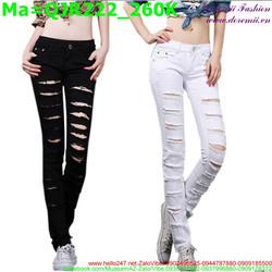Quần jean nữ rách lưng cao hai màu đen trắng bụi bặm QJR222