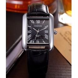 Đồng hồ nam dây da cao cấp Chenxi 068A Dây Đen, Mặt Đen, Vuông