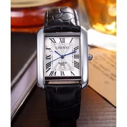 Đồng hồ nam dây da cao cấp  Chenxi 068A Dây Đen, Mặt Trắng, Vuông