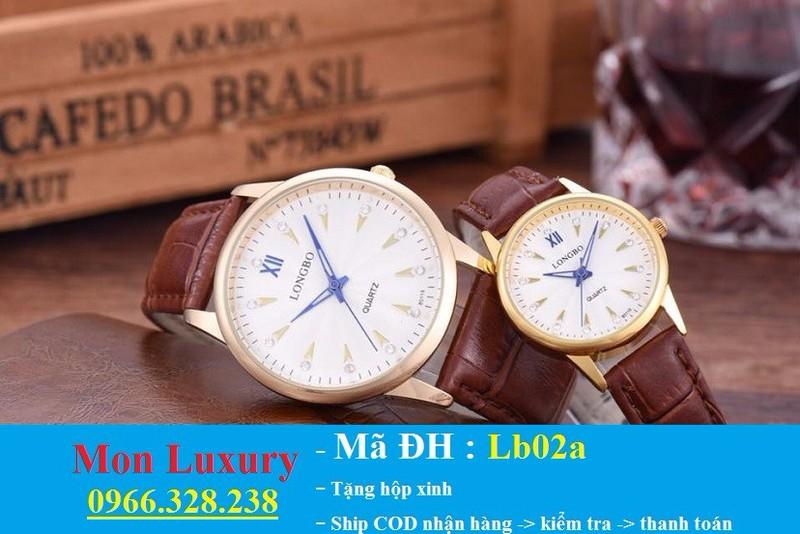 Đồng hồ đôi dây da chống nước - LB02a 1