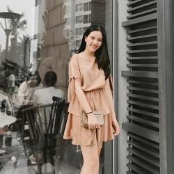 Set áo nhún thun chân váy xòe - Be - Size S M L