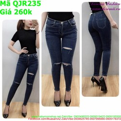 Quần jean nữ lưng cao ống ôm thời trang QJR235