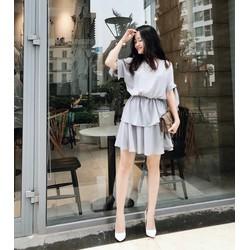 Set áo nhún thun chân váy xòe - Xám - Size S M L