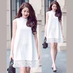 Đầm suông phối ren dịu dàng trắng đen