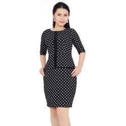 Đầm Suông chấm bi tay lỡ Sang Trọng- Váy Suông