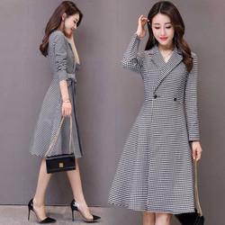 Đầm xòe giả vest sọc caro cột eo
