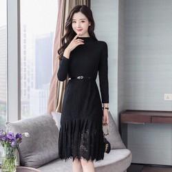Đầm Suông Chân Váy Ren Kèm Thắt Lưng - Hàng nhập loại 1