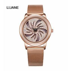 Đồng hồ nữ Mashali 15605 Hàng Chính Hãng dây thép mặt đá xoay