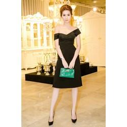 Đầm đen trễ vai body thiết kế đơn giản đẹp như Ngọc Trinh