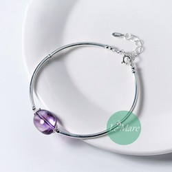 LẮC TAY THẠCH ANH TÍM LAVENDER 2 LEMARE SILVER
