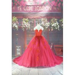 Váy cưới đỏ tùng xòe cao cấp
