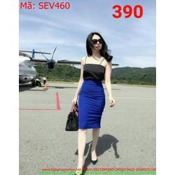 Sét áo cúp 2 dây và chân váy bút chì sành điệu SEV460
