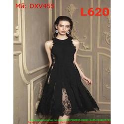 Đầm xòe dự tiệc ren đen sang trọng và quý phái DXV455