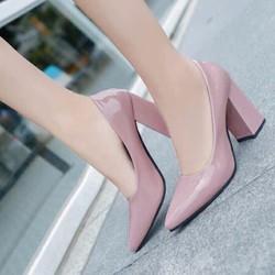 giày cao got đế vuông da trơn nữ cực đẹp