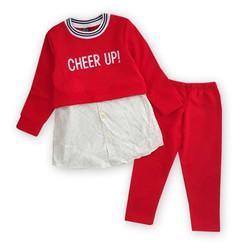 Bộ bé gái thêu chữ CHEER UP quần legging dễ thương
