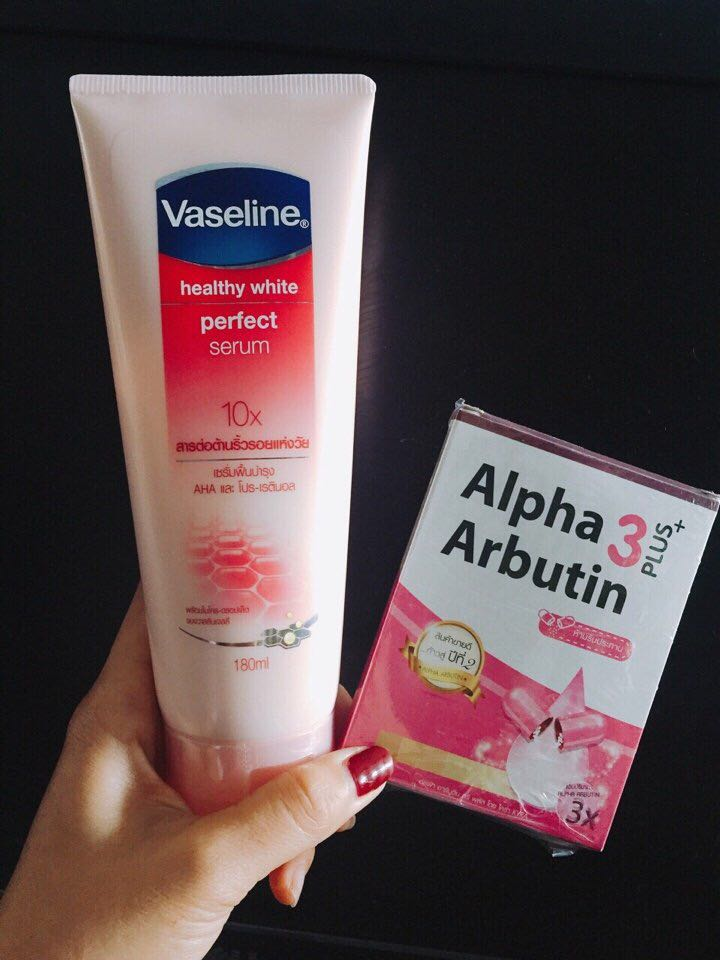 Combo Vaseline 10x viên kích trắng Alpha arbutine 1