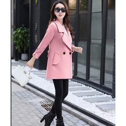 Áo khoác dạ lì hồng