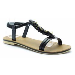 sandal dây mùa hè-prin46- đen- hồng-trắng-kem
