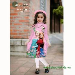 Bộ áo dài Elsa quần legging kèm mấn cho bé gái