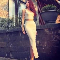 Áo váy kiểu áo croptop váy dài xẻ đùi
