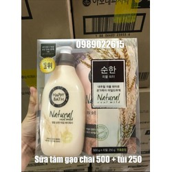 Set sữa tắm Happy Bath chai 500ml + túi 250ml