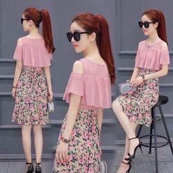 HÀNG MỚI-Đầm suông khoét vai phối tùng hoa bèo