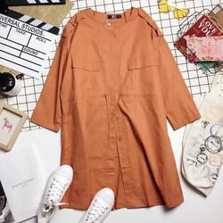 Áo khoác thô đắp vai dáng dài rút dây eo pha nắp túi - Hàng Quảng Châu