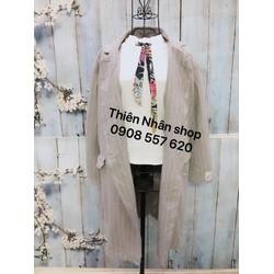 áo khoác dạ sọc dọc 2 nút hàng si tuyển