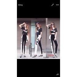 Set bộ thun Fila sọc quần dài hàng thiết kế! MS: S151153 Giá sỉ: 135k