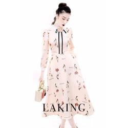 Đầm xoè nữ tay dài in hoạ tiết y hình