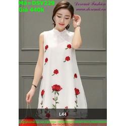 Đầm suông dạo phố cổ tru vải in hoa hồng xinh xắn DSV229