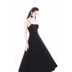 HÀNG CAO CẤP-Đầm đen xòe hở lưng V thiết kế 2 dây tuyệt đẹp