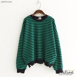 Áo sweater nữ sọc lót lông mùa đông