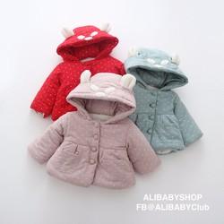 Áo khoác ấm thời trang siêu dễ thương thu đông 2 lớp bé gái