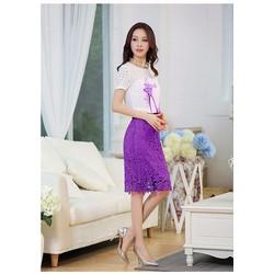 Sét áo in họa tiết chiếc giầy + chân váy ren màu tím cao cấp