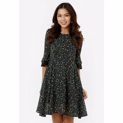 Đầm Xòe Tay Loe Phối Ren - Đen Hoa Cúc Nhí