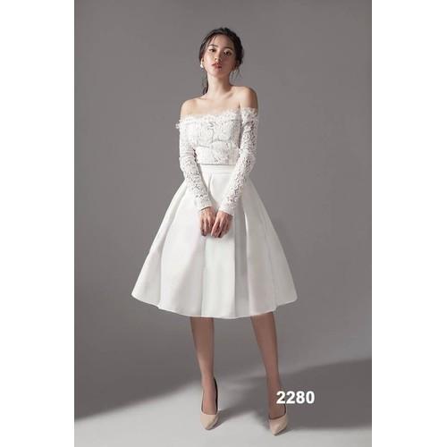 Đầm xòe trắng phối ren tay dài - 5106486 , 7786746 , 15_7786746 , 519000 , Dam-xoe-trang-phoi-ren-tay-dai-15_7786746 , sendo.vn , Đầm xòe trắng phối ren tay dài