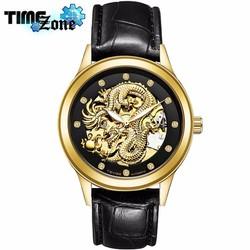 Đồng hồ chạy cơ nam dây da TEVISE Rồng Vàng Cao Cấp Dây Đen Mặt Đen