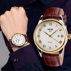 Đồng hồ nam Skmei dây da 035 mặt trắng