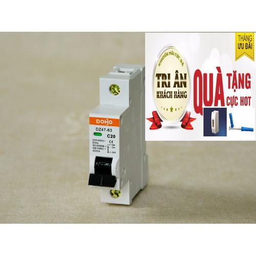 Cầu dao tự động mcb dobo 1p 20a 6ka - tặng kèm ốp hộp bảo vệ