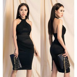 Đầm ôm body cổ yếm D995
