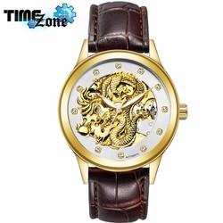 Đồng hồ chạy cơ nam dây da TEVISE Rồng Vàng Golden Dragon Nâu