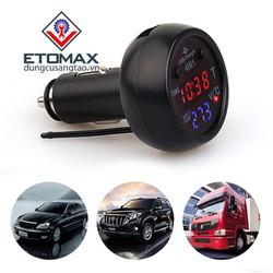 Tẩu sạc điện thoại kiêm đồng hồ đo điện áp, nhiệt độ trên ô tô