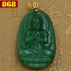 Mặt dây chuyền Phật bản mệnh Đại Nhật Như Lai 5 cm xanh